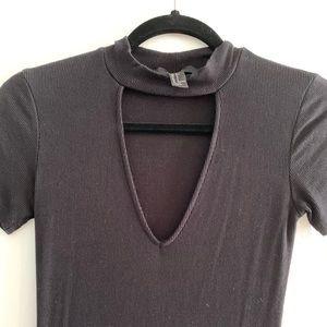 F21 open choker black T-shirt dress